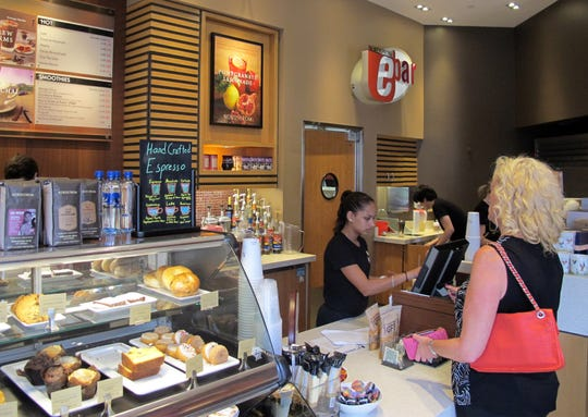 The Nordstrom Ebar artisan coffee shop is open daily near the main entrance of the luxury department store on the northwest corner of Waterside Shops in Naples.