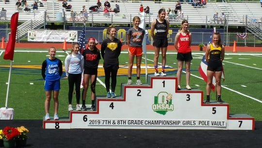 Heath eighth-grader Allie Dunlap and Watkins eighth-grader Victoria Harvey placed in the pole vault during Saturday's middle school state championships at Lancaster.
