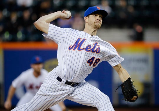 New York Mets' Jacob deGrom delivers a pitch during the first inning of the team's baseball game against the Miami Marlins on Saturday, May 11, 2019, in New York. (AP Photo/Frank Franklin II)