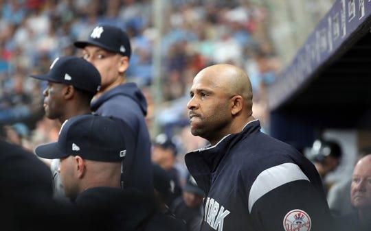 May 11, 2019; St. Petersburg, FL, USA; New York Yankees starting pitcher CC Sabathia (52) reacts from the dugout during the sixth inning against the Tampa Bay Rays at Tropicana Field.