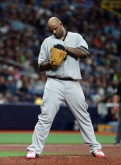 May 11, 2019; St. Petersburg, FL, USA; New York Yankees starting pitcher CC Sabathia (52) looks down in his hat while on the mound during the third inning against the Tampa Bay Rays at