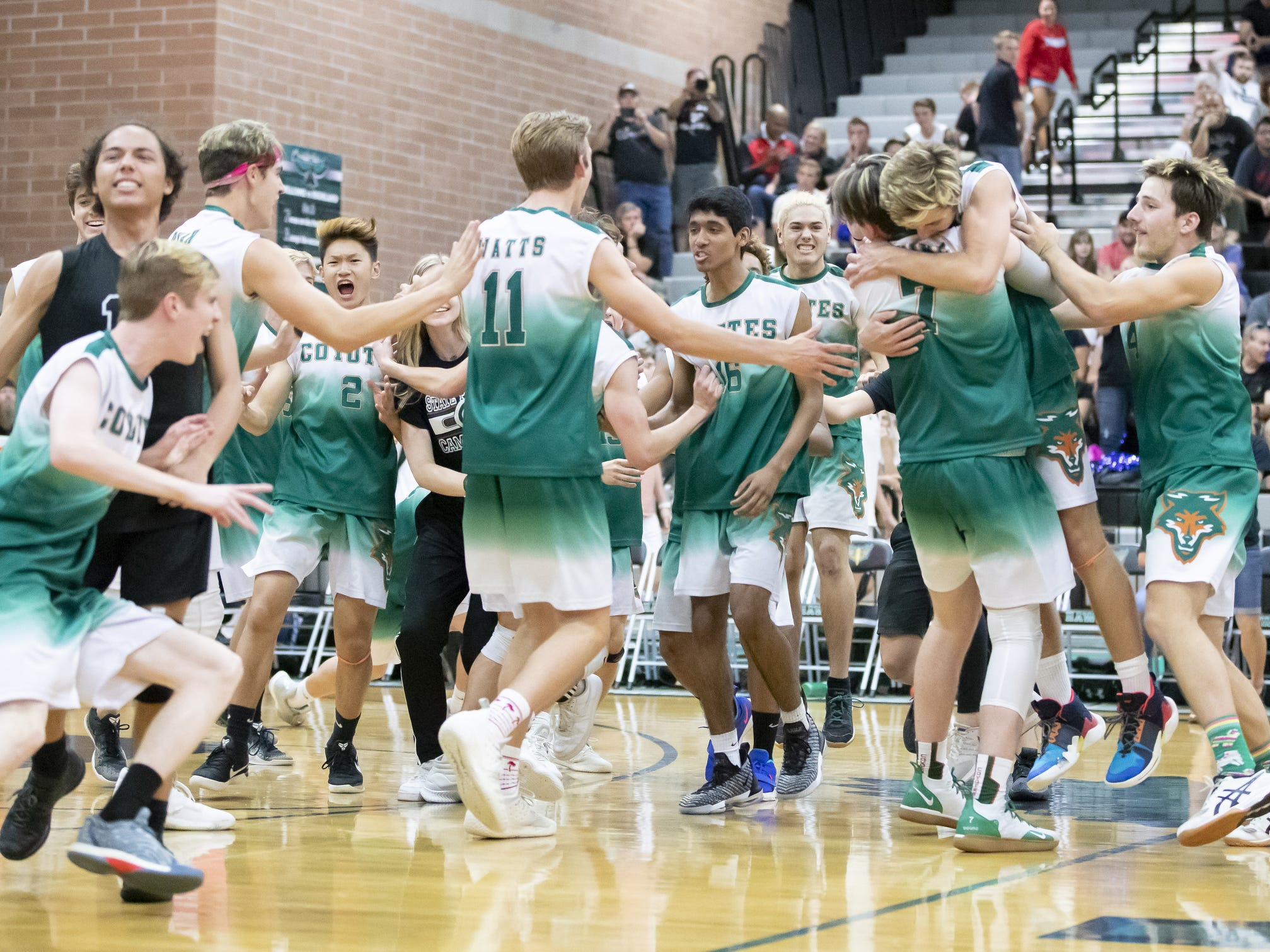 The Campo Verde Coyotes celebrate their 3-0 win against the Tucson Mountain View Mountain Lions in the 5A Boys Volleyball State Championships at Higley High School on Saturday, May 11, 2019 in Gilbert, Arizona.