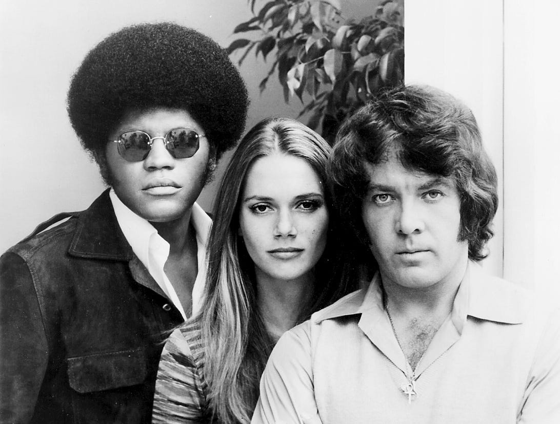 """The Mod Squad"" starred Clarence Williams III (from left), Peggy Lipton and Michael Cole."