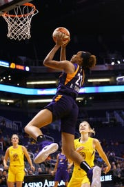 Phoenix Mercury forward Brianna Turner takes a shot and scores against the Los Angeles Sparks in the first half during a preseason game on May 11, 2019 in Phoenix, Ariz.