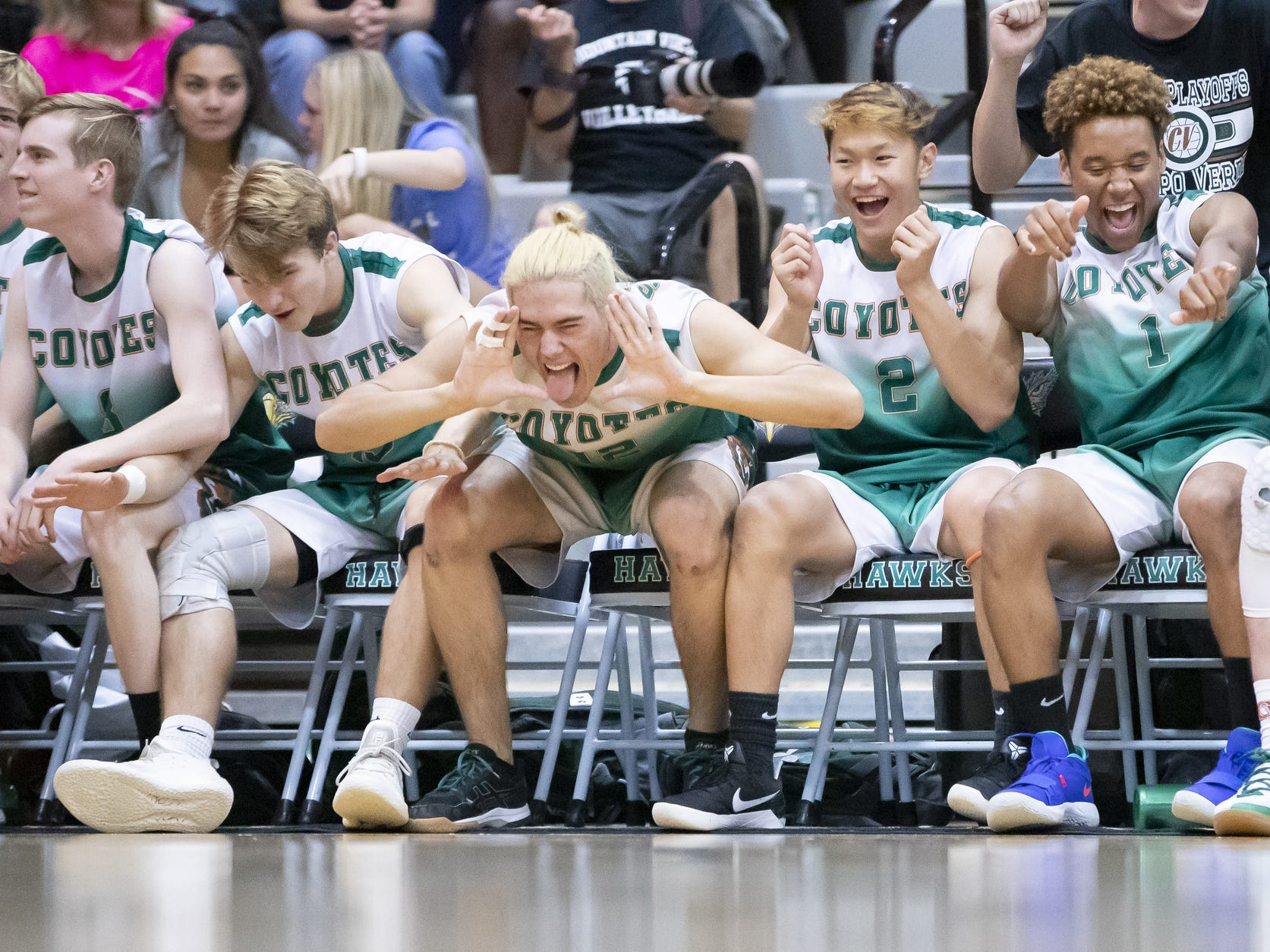 The Campo Verde Coyotes bench cheers during the 5A Boys Volleyball State Championships against the Tucson Mountain View Mountain Lions at Higley High School on Saturday, May 11, 2019 in Gilbert, Arizona.