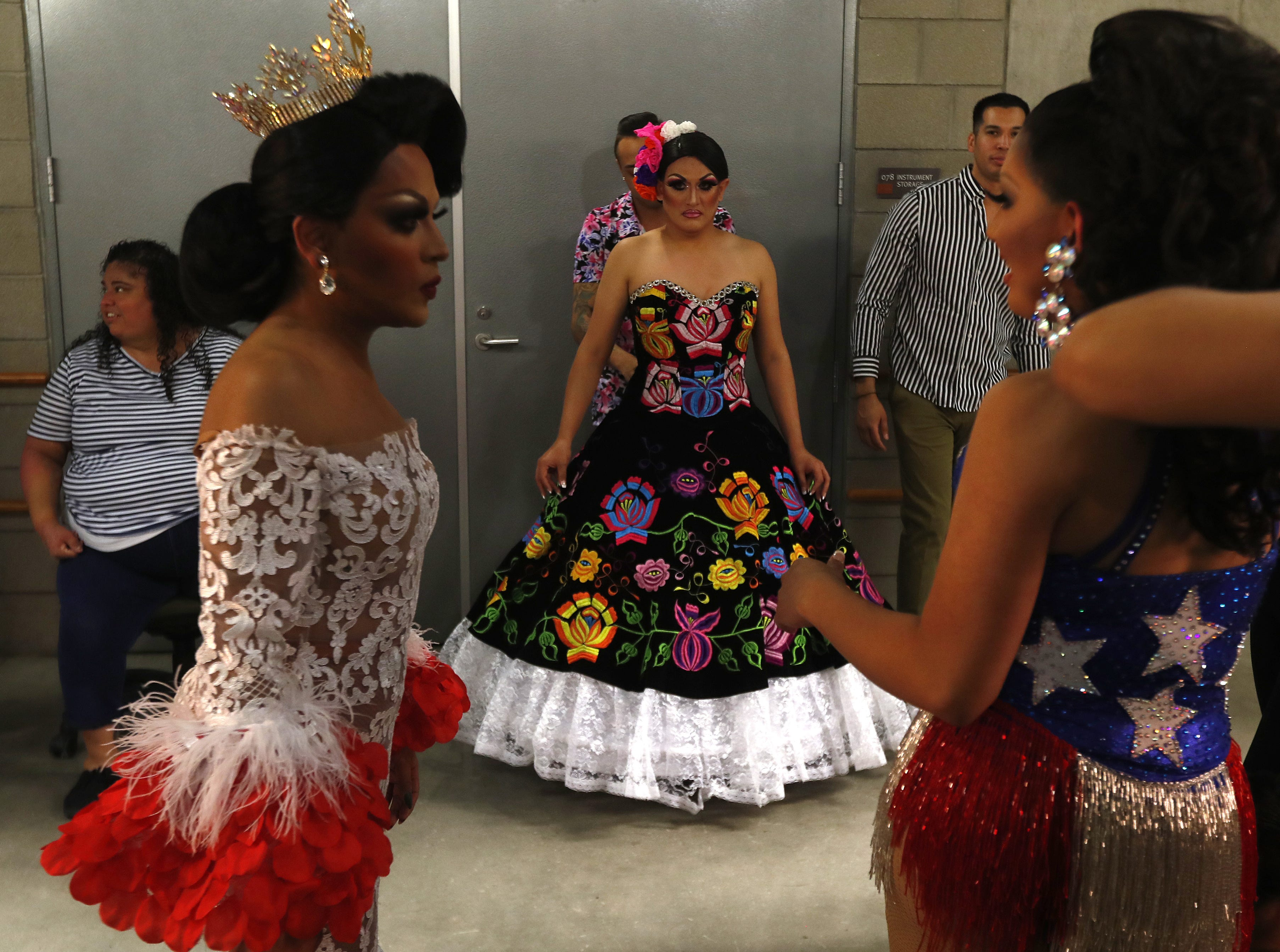 Miss Gay Arizona America 2018 Adriana Galliano (left) preps backstage with Jimena Cavalli (center) and Sicarya (right) during the Miss Gay Arizona America pageant 2019 at Tempe Center for the Arts on May 11, 2019.