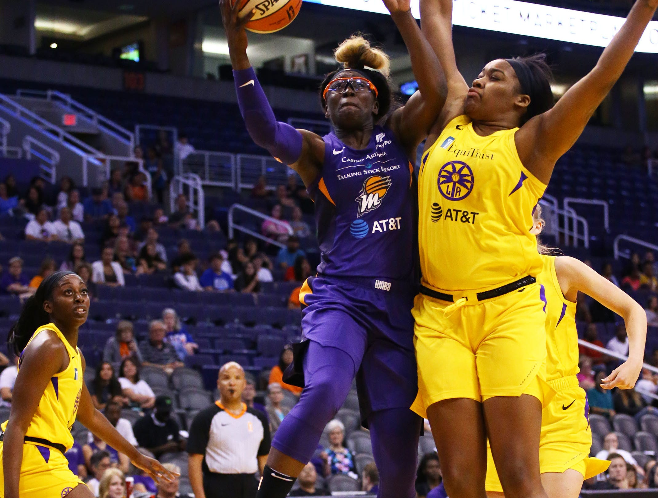 Phoenix Mercury forward Essence Carson looks to the basket against the Los Angeles Sparks in the first half during a preseason game on May 11, 2019 in Phoenix, Ariz.