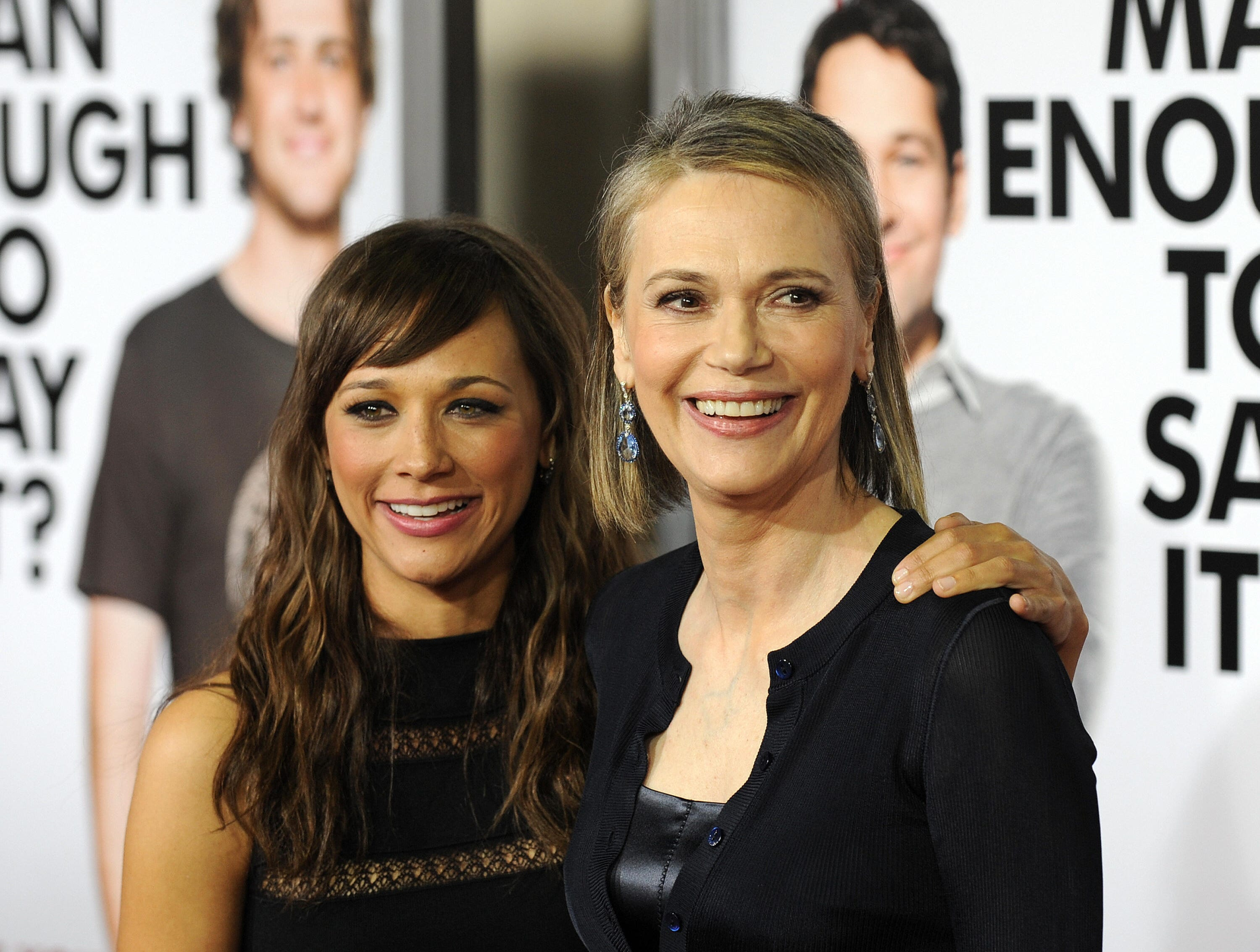 "Actress Rashida Jones and her mother, actress Peggy Lipton, arrive at the premiere of ""I Love You, Man"" on March 17, 2009, in Westwood, California."