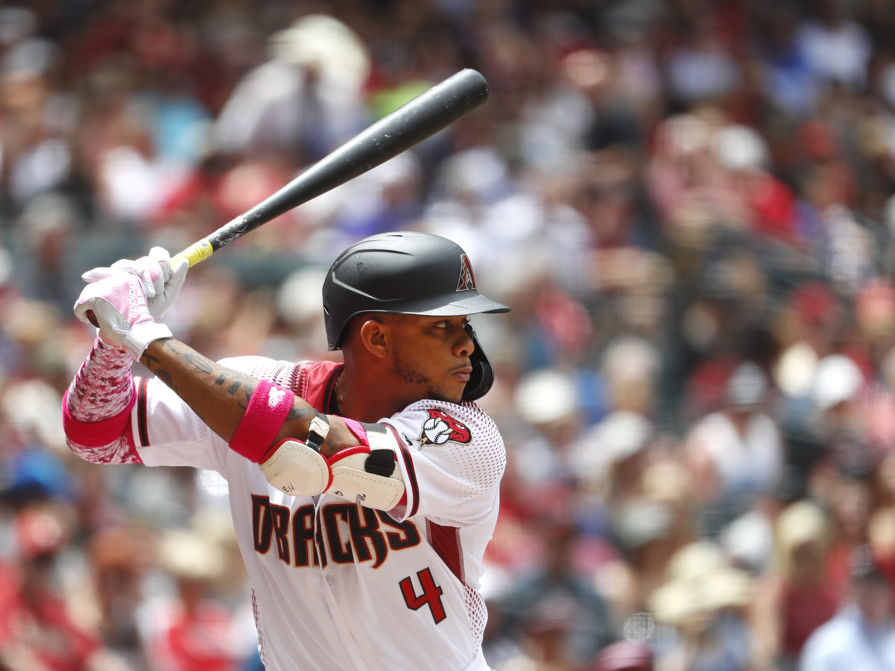 Diamondbacks' Ketel Marte (4) takes to the box against the Braves during the first inning at Chase Field in Phoenix, Ariz. on May 12, 2019.