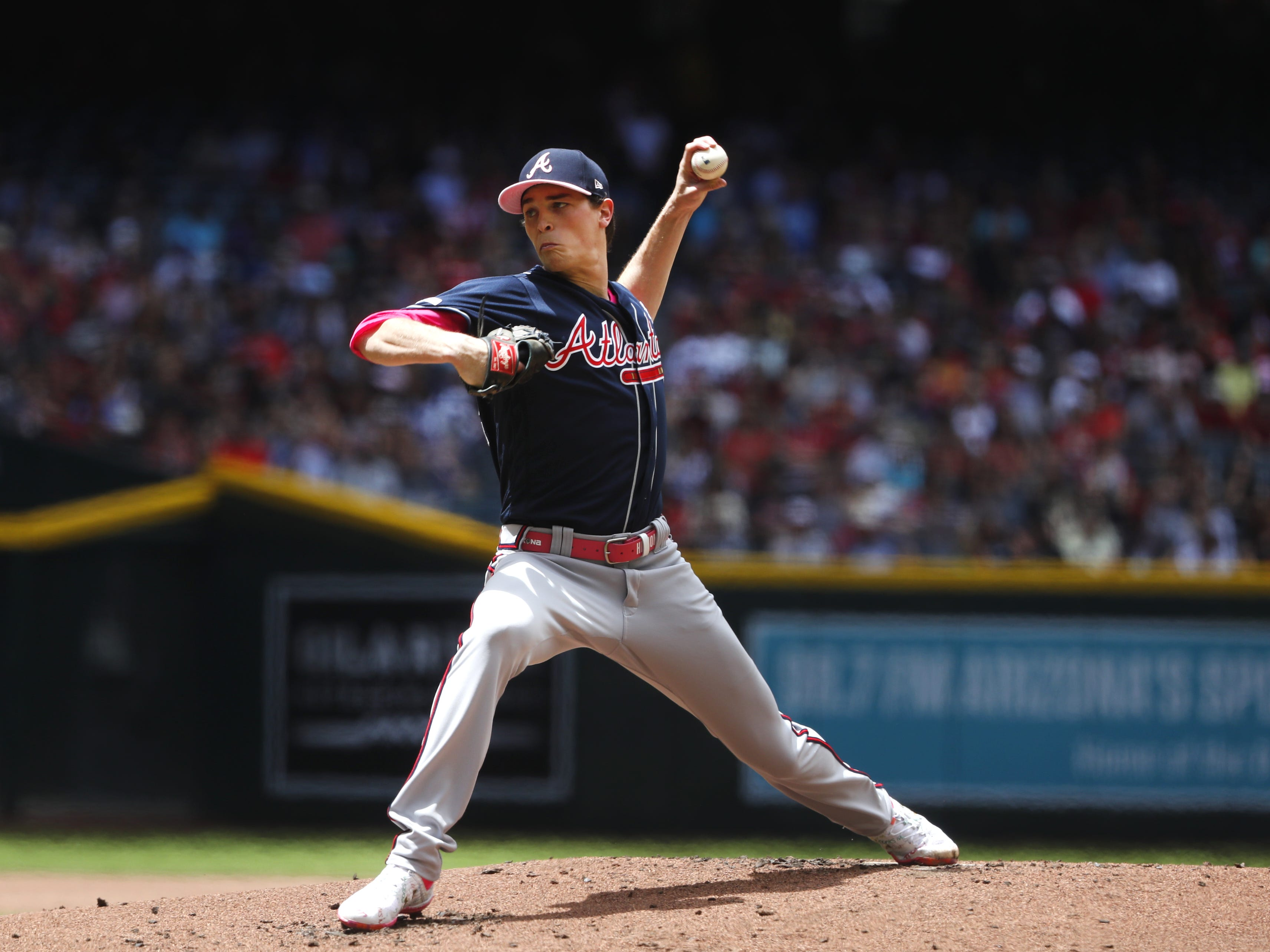 Braves' Max Fried (54) pitches against the Diamondbacks during the first inning at Chase Field in Phoenix, Ariz. on May 12, 2019.