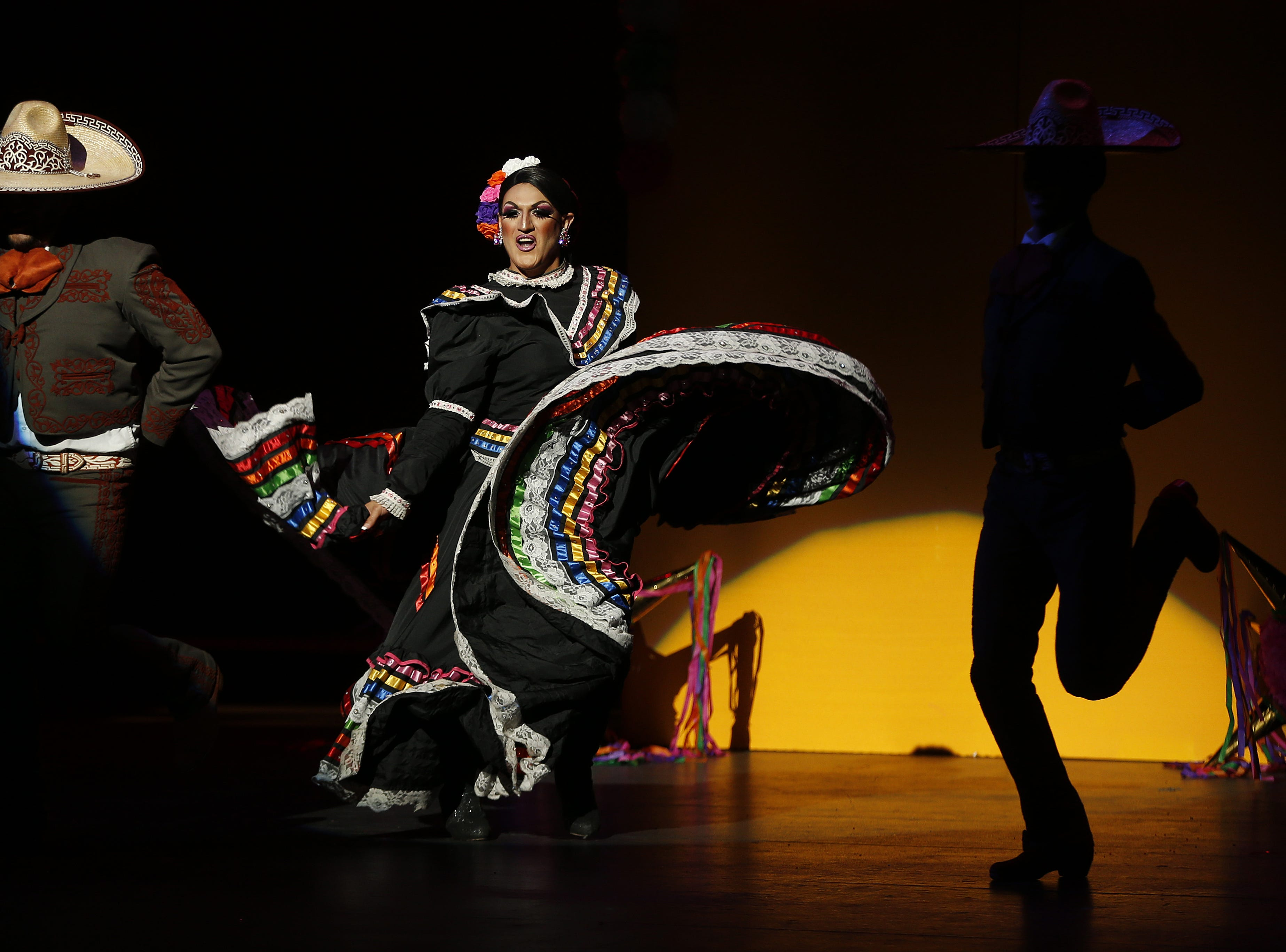Miss Gay Copper City America Jimena Cavalli performs during the Miss Gay Arizona America pageant 2019 at Tempe Center for the Arts on May 11, 2019.