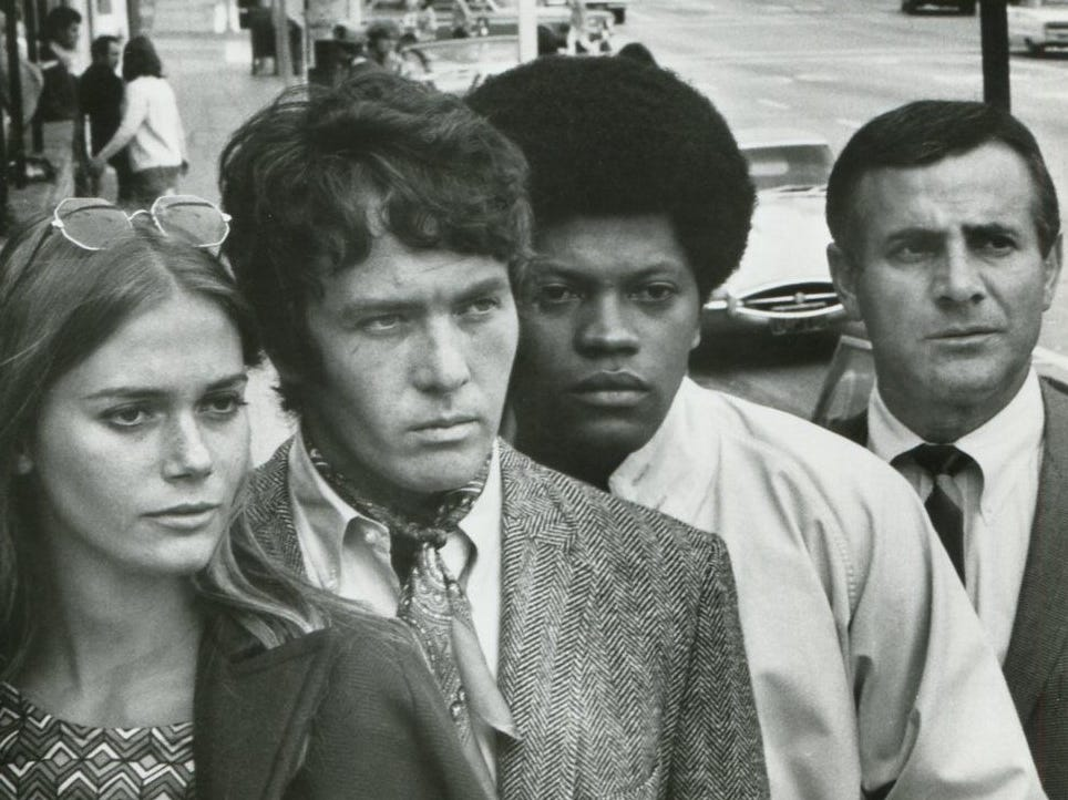 "Peggy Lipton starred with Michael Cole (from left), Clarence Williams III and Tige Andrews in ""The Mod Squad."""