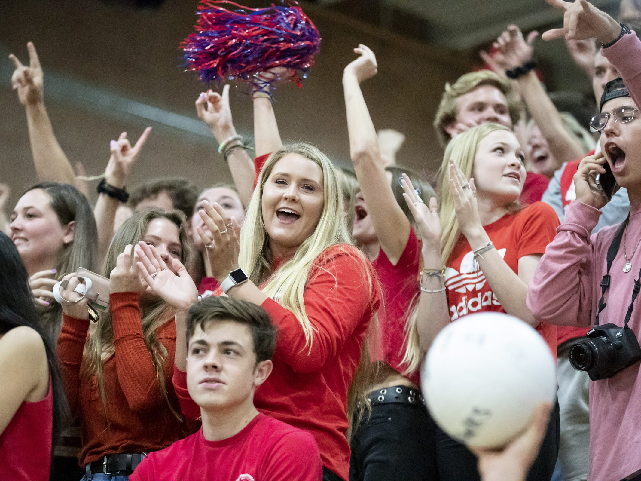Mesa Mountain View Toros fans cheer during the 6A Boys Volleyball State Championships against the Chandler Wolves at Higley High School on Saturday, May 11, 2019 in Gilbert, Arizona.