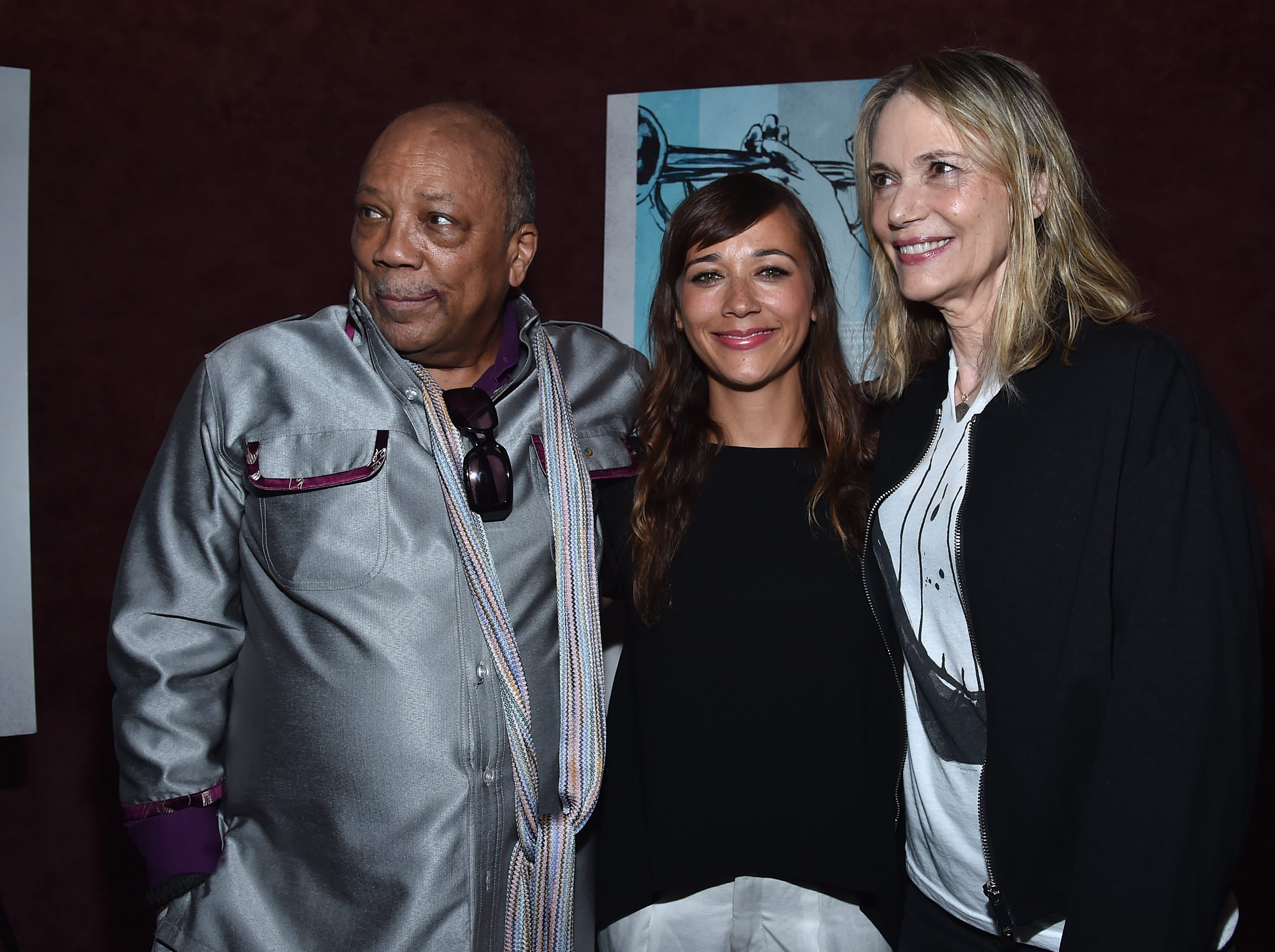 "Producer Quincy Jones, actress Rashida Jones and actress Peggy Lipton arrive to the premiere of RADIUS-TWC's ""Keep On Keepin' On"" at Landmark Theatre on September 17, 2014, in Los Angeles."