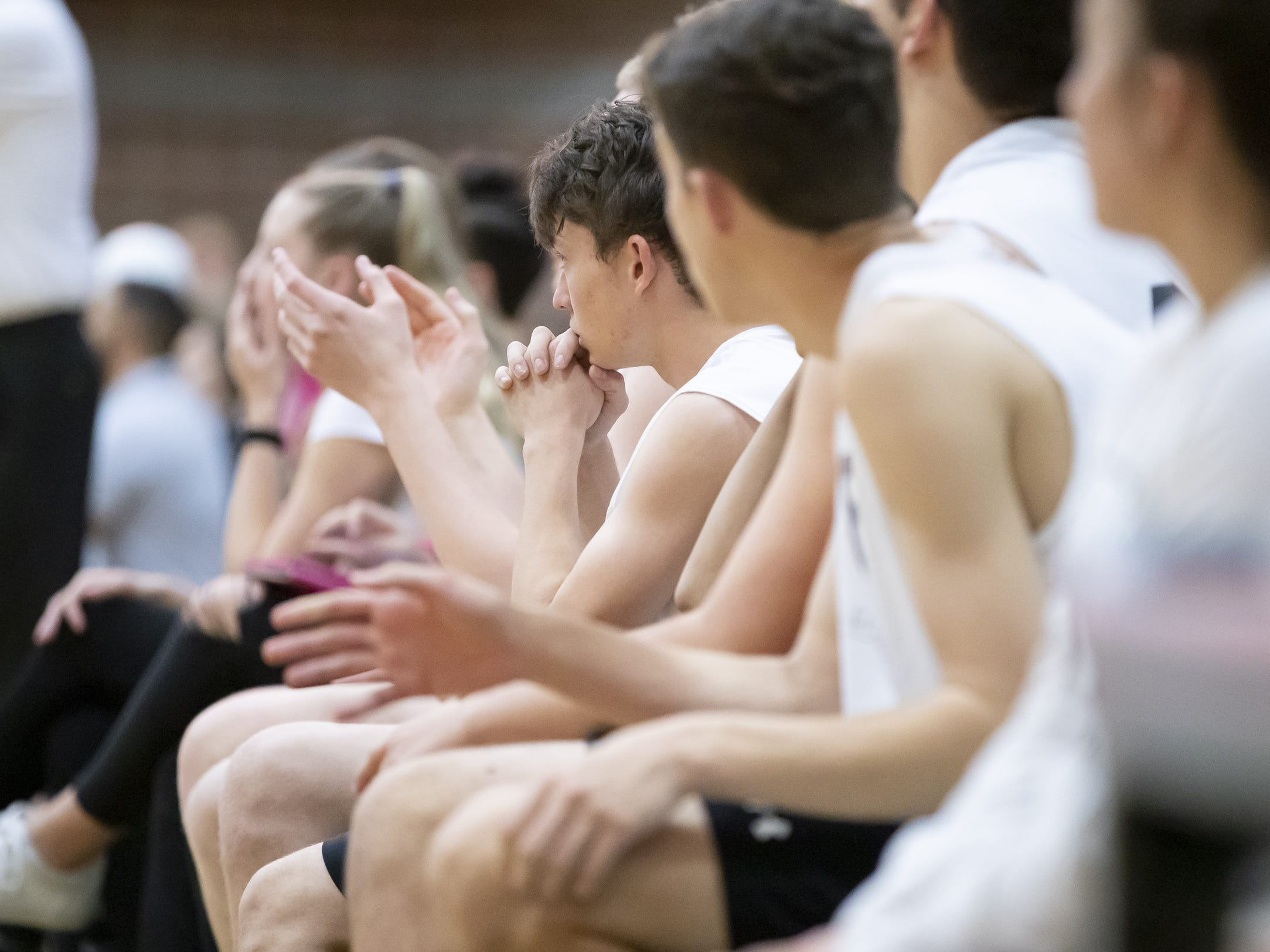 The Tucson Mountain View Mountain Lions look on late in the third match during the 5A Boys Volleyball State Championships against the Campo Verde Coyotes at Higley High School on Saturday, May 11, 2019 in Gilbert, Arizona.
