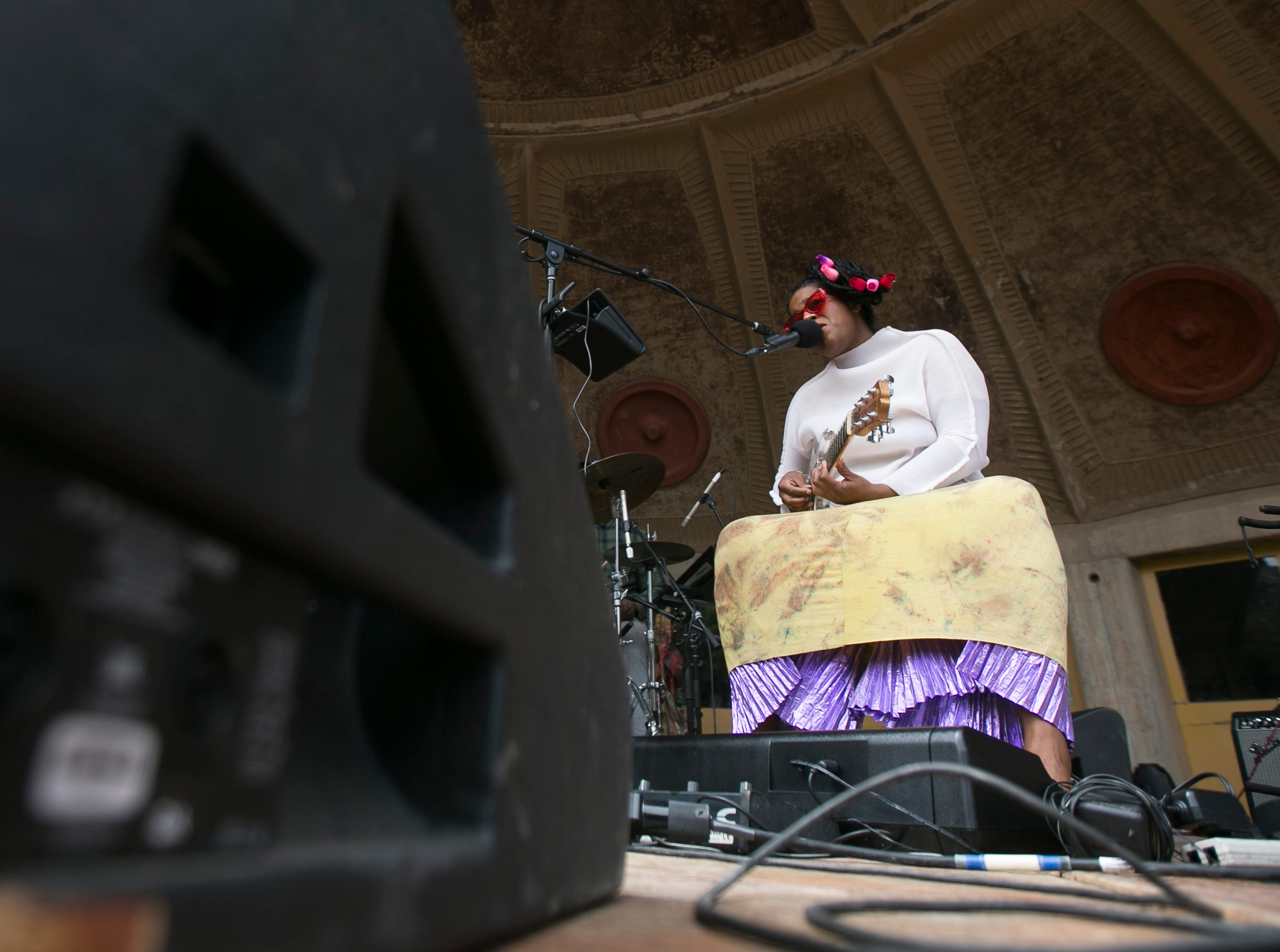 L'Rain performs at the 2019 FORM Arcosanti music festival near Camp Verde, Arizona, on May 12, 2019.