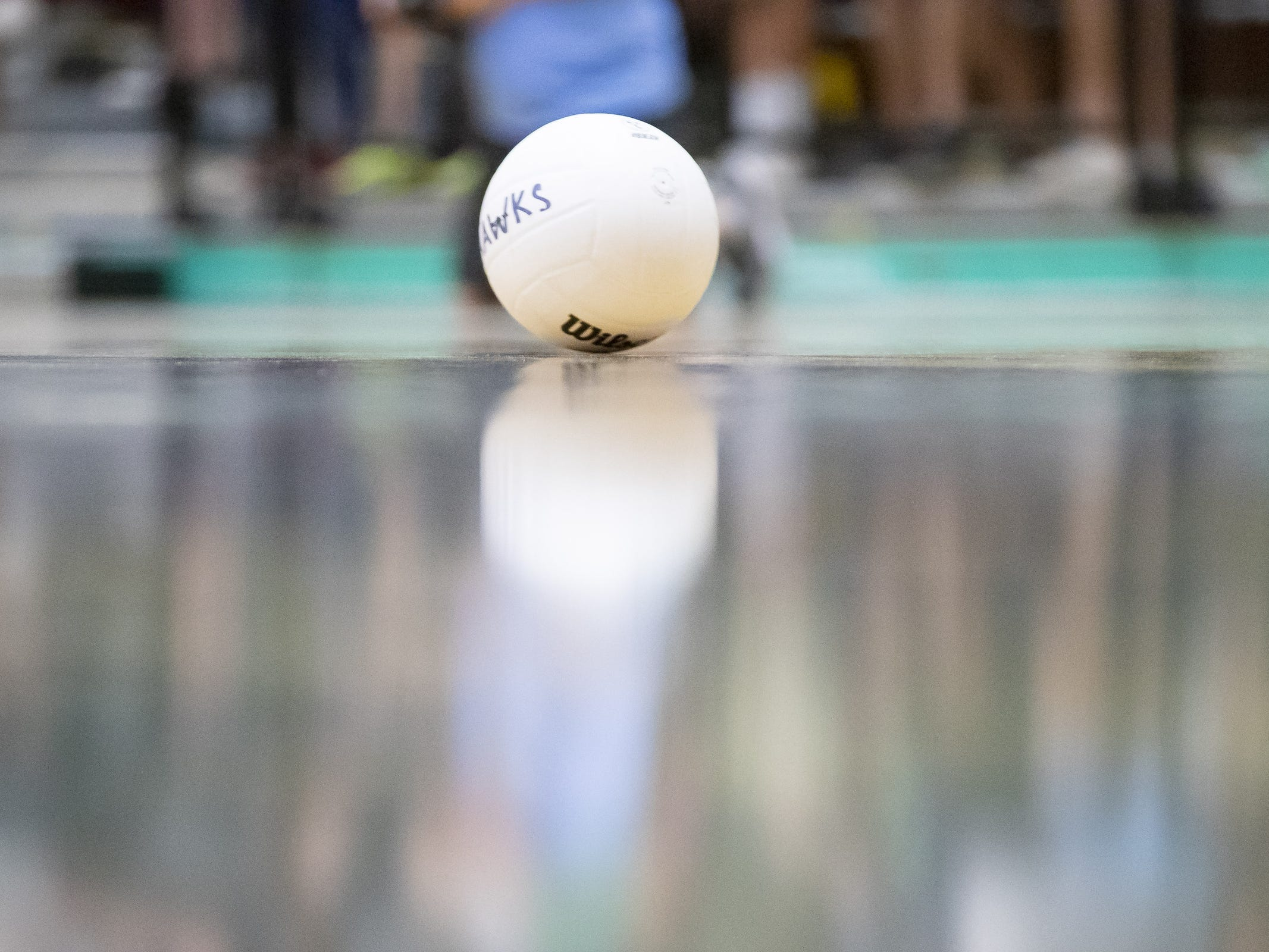 A volleyball on the court during the 5A Boys Volleyball State Championships between the Campo Verde Coyotes and the Tucson Mountain View Mountain Lions at Higley High School on Saturday, May 11, 2019 in Gilbert, Arizona.