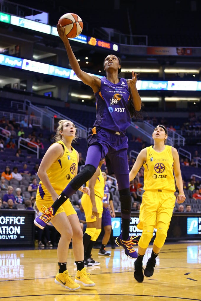 Phoenix Mercury forward DeWanna Bonner scores against the Los Angeles Sparks in the first half during a preseason game on May 11, 2019 in Phoenix, Ariz.