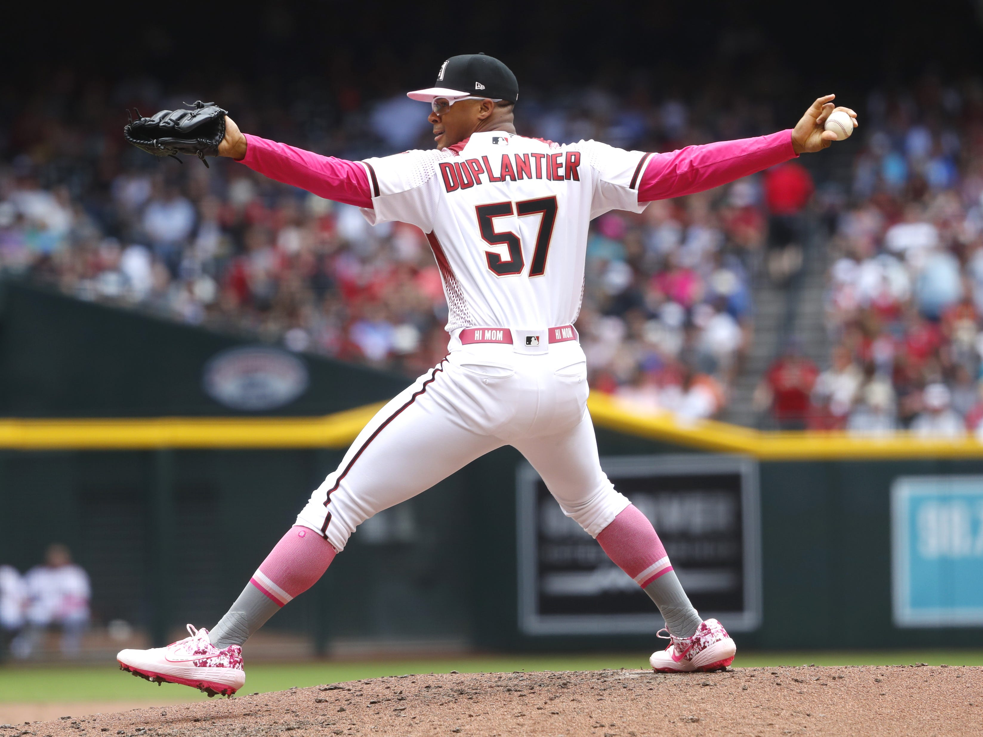 Diamondbacks' Jon Duplantier (57) pitches in third inning against the Braves at Chase Field in Phoenix, Ariz. on May 12, 2019.