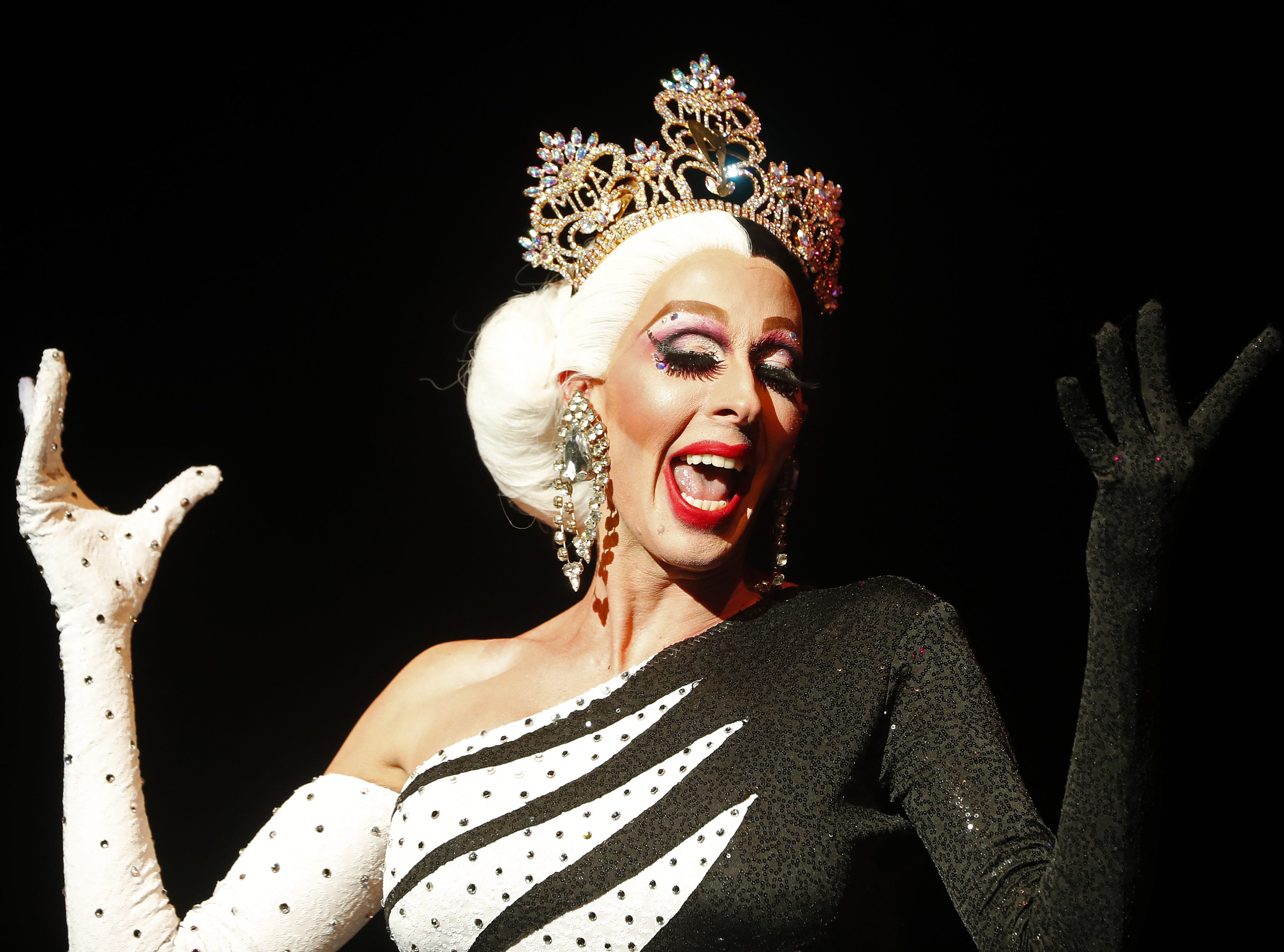 Miss Gay America 2019 Andora Te'Tee performs during the Miss Gay Arizona America pageant 2019 at Tempe Center for the Arts on May 11, 2019.