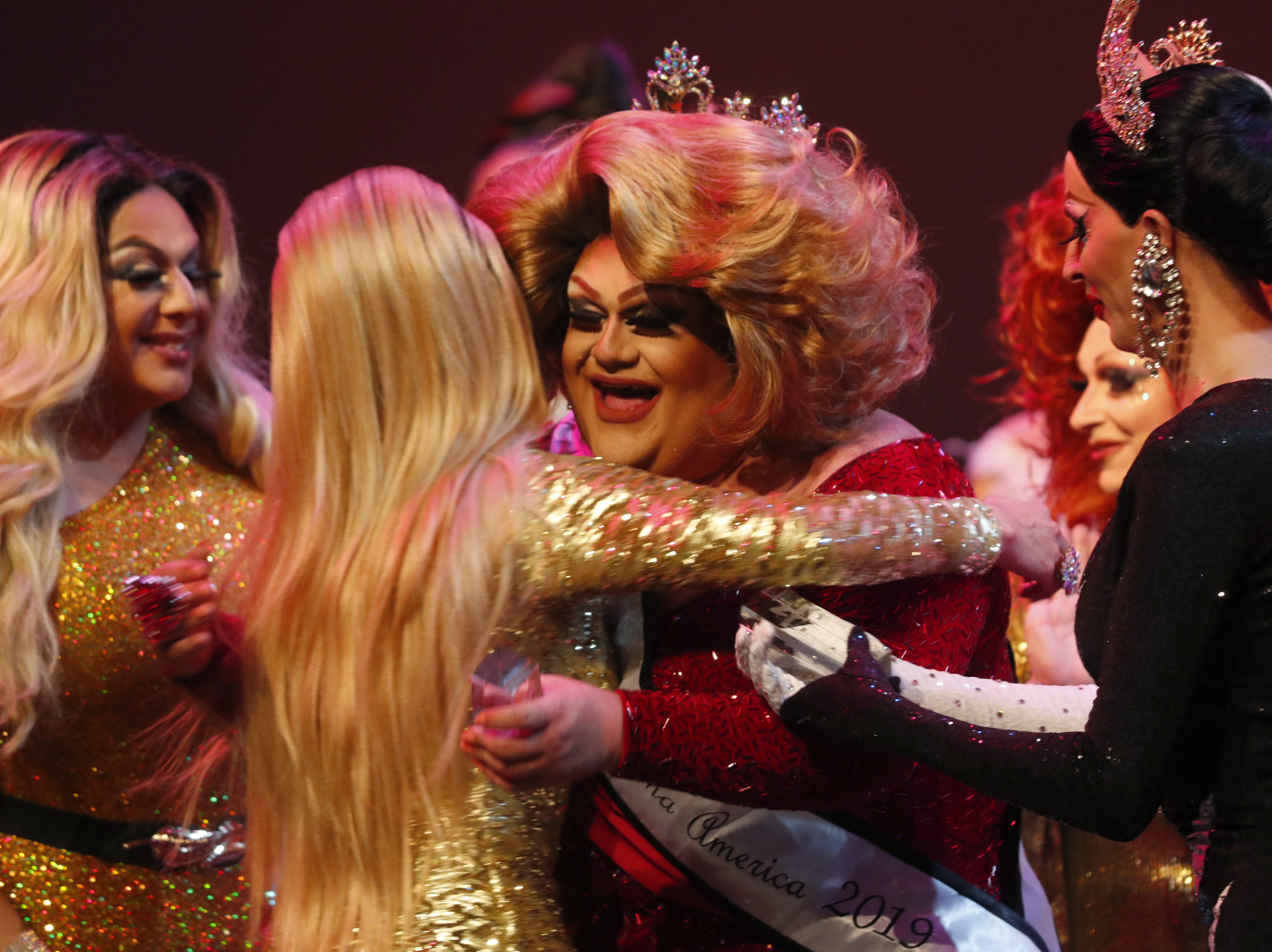 Espressa Grande reacts after winning the Miss Gay Arizona America pageant 2019 at Tempe Center for the Arts on May 11, 2019.