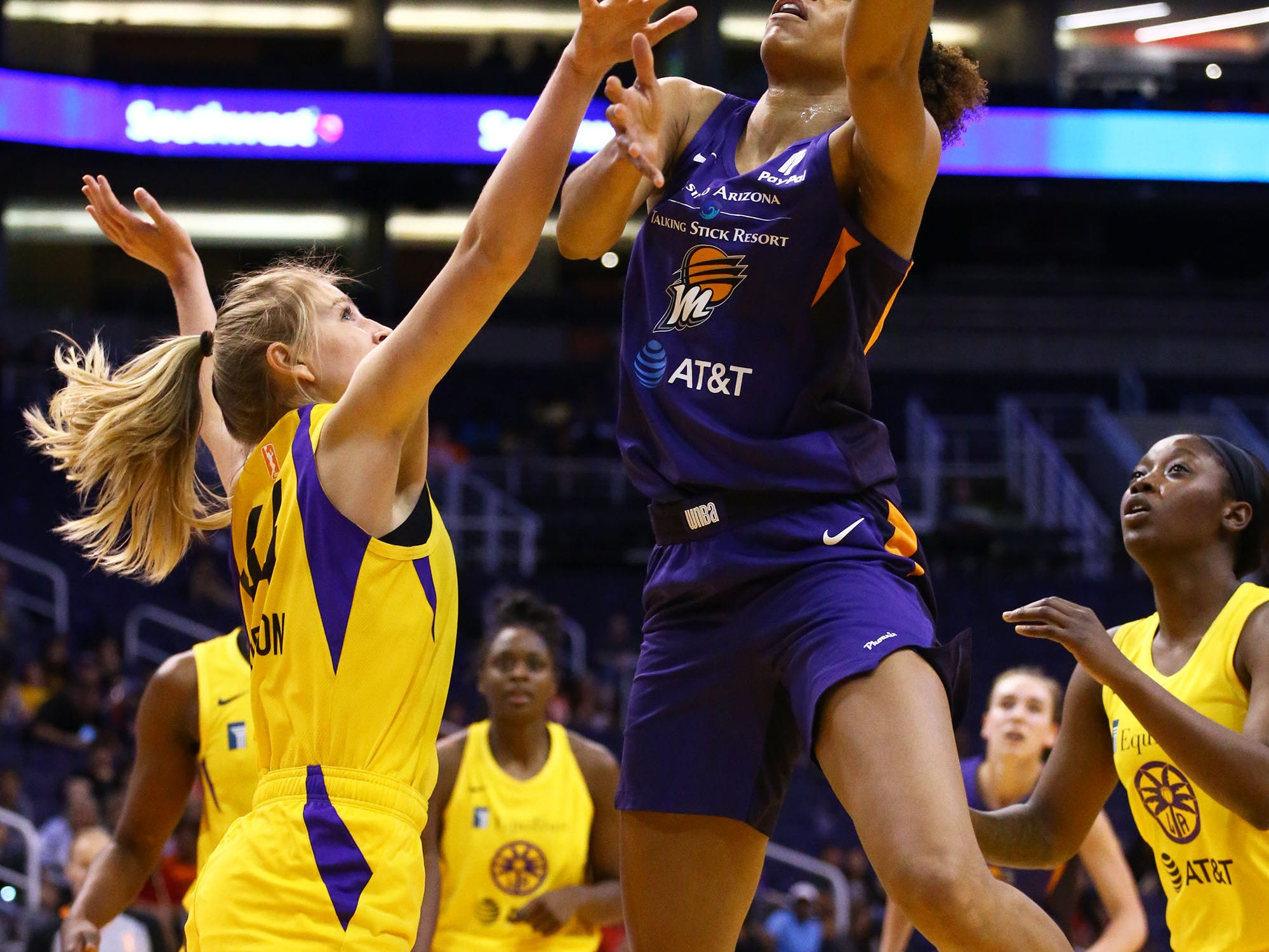 Phoenix Mercury forward Brianna Turner takes a shot against the Los Angeles Sparks in the first half during a preseason game on May 11, 2019 in Phoenix, Ariz.