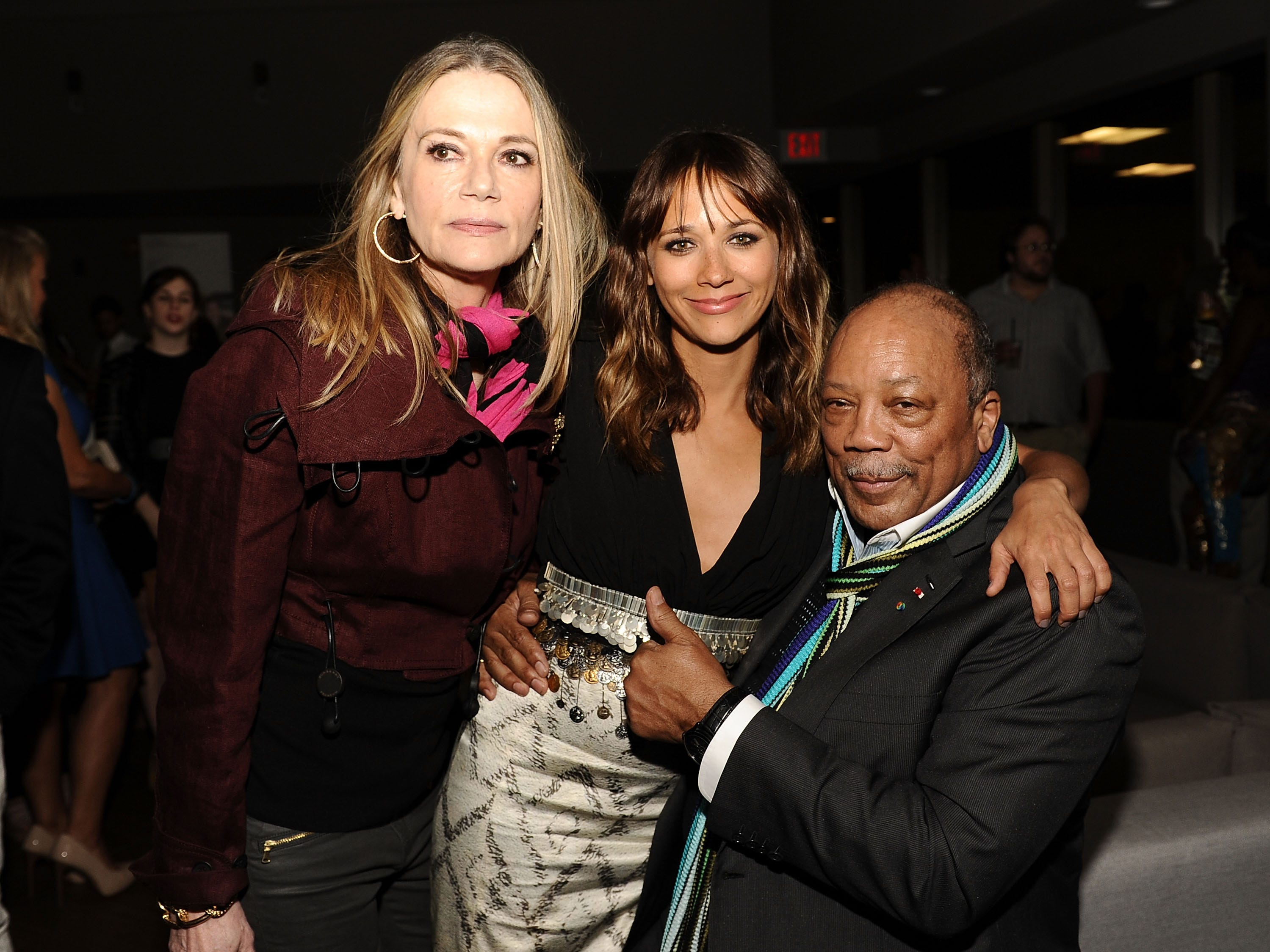Peggy Lipton (from left), actress Rashida Jones and musician/producer Quincy Jones attend the after party for 'Celeste And Jesse Forever' at the 2012 Los Angeles Film Festival held at Luxe Hotel on June 21, 2012, in Los Angeles, California.