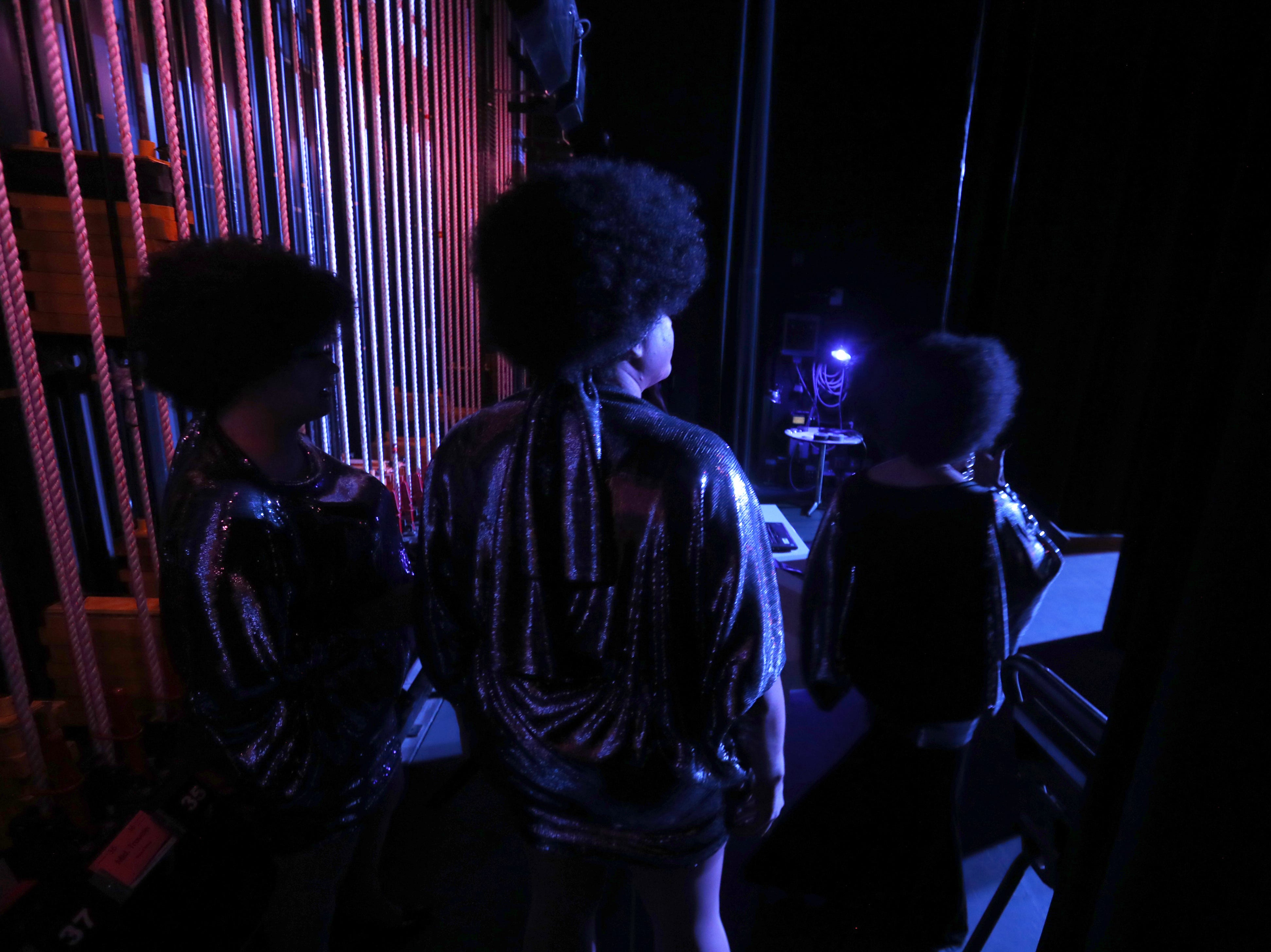 Lucinda Holliday, Queerella Deville and Isis D.Frost prepare backstage for their performance during the Miss Gay Arizona America pageant 2019 at Tempe Center for the Arts on May 11, 2019.