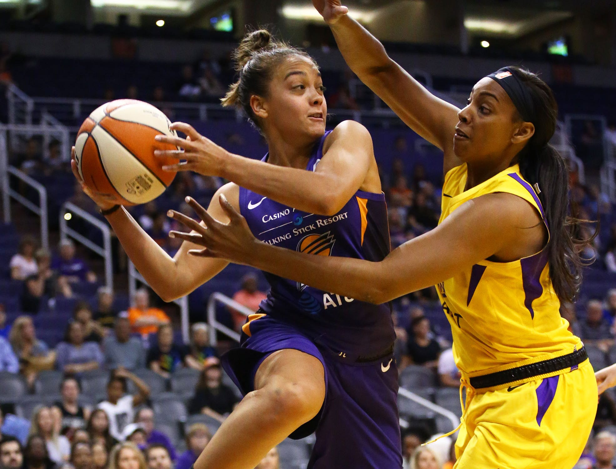 Phoenix Mercury guard Leilani Mitchell passes the ball against the Los Angeles Sparks in the first half during a preseason game on May 11, 2019 in Phoenix, Ariz.