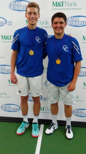 Cedar Crest's Jack Muraika, left, and Dylan Tull captured the District 3 3A doubles title on Saturday at Hershey Racquet Club.