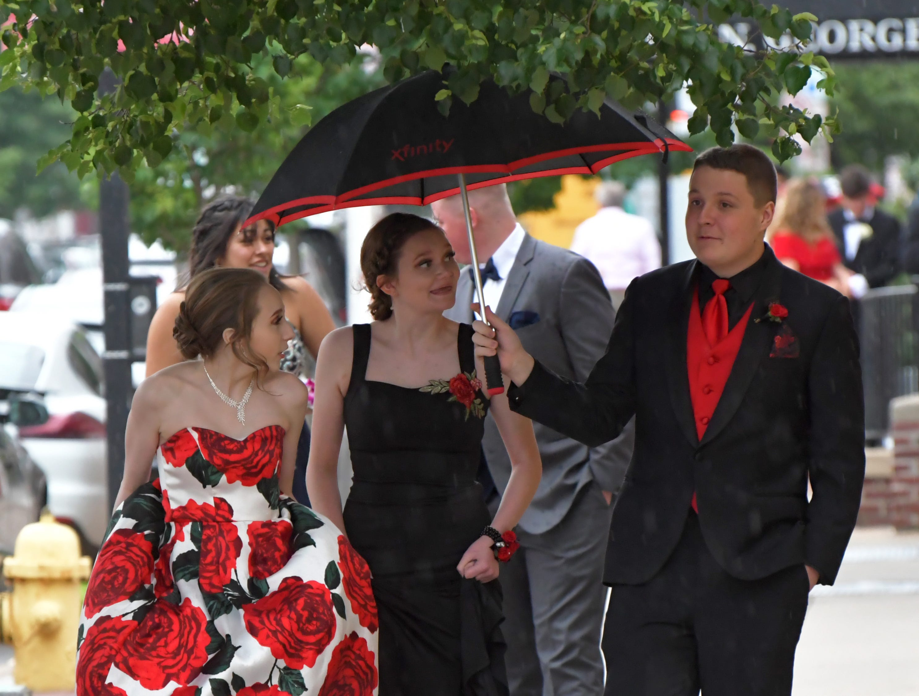 On the way to their school's, York Suburban, prom are, from left: Lea Youngman, Adrianna Pinto, and Kevin Kumler. The prom was held at the Valenica in York City on Saturday, May 11, 2019. Randy Flaum photo