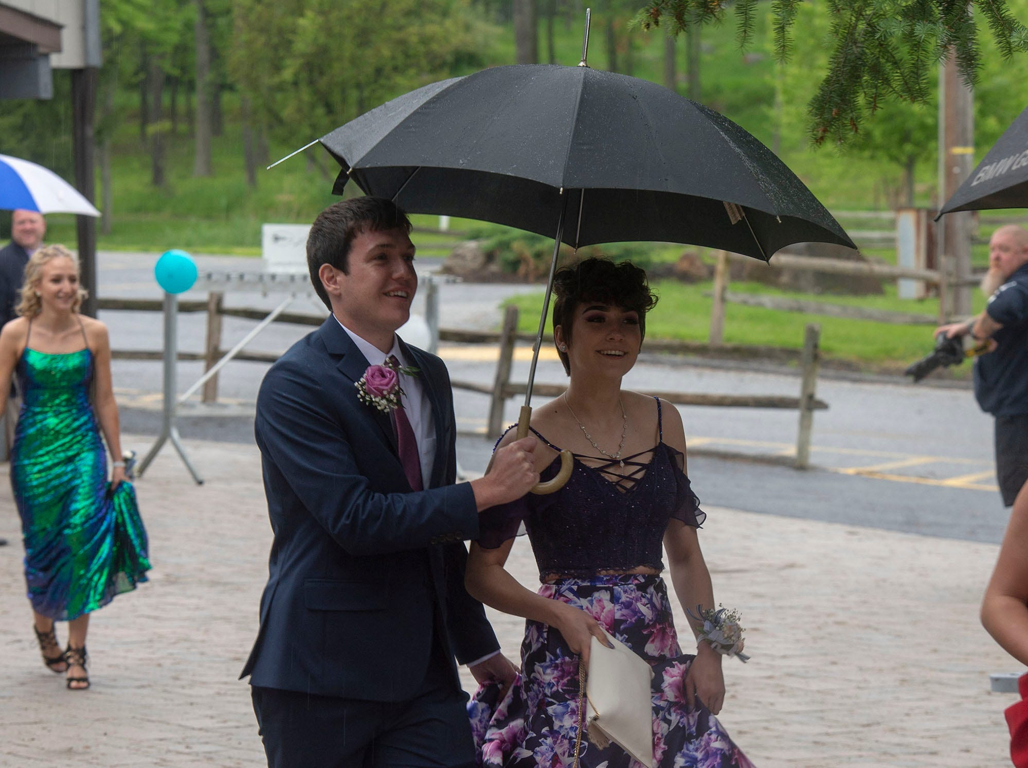 Students and their guests arrive at Roundtop Mountain Resort Saturday, May 11, 2019 for the Dover High School prom.