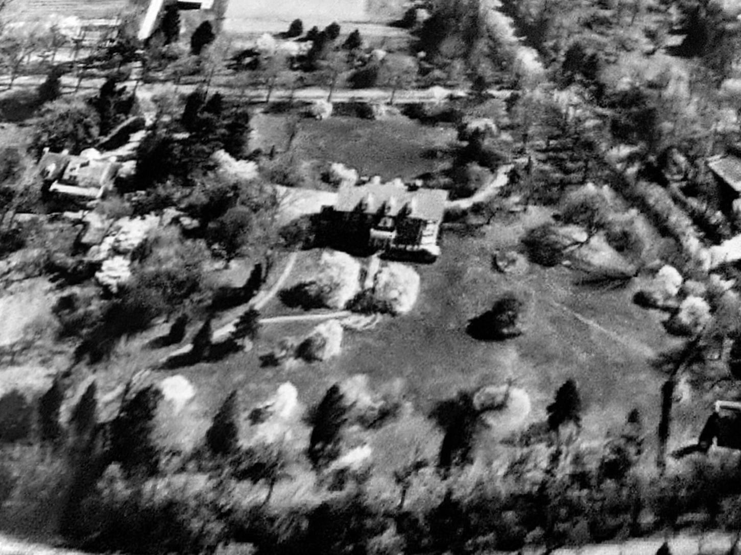 An ariel shot shows the Grantley Hills mansion, before development around it, near York College in the 1930s. The photo includes the ornamental cherry tree.