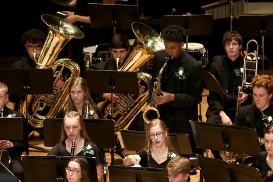 West Salem High School's band, under the direction of Todd Zimbelman, performs at the OSAA 6A Band State Championships at Oregon State University in Corvallis on May 11, 2019.