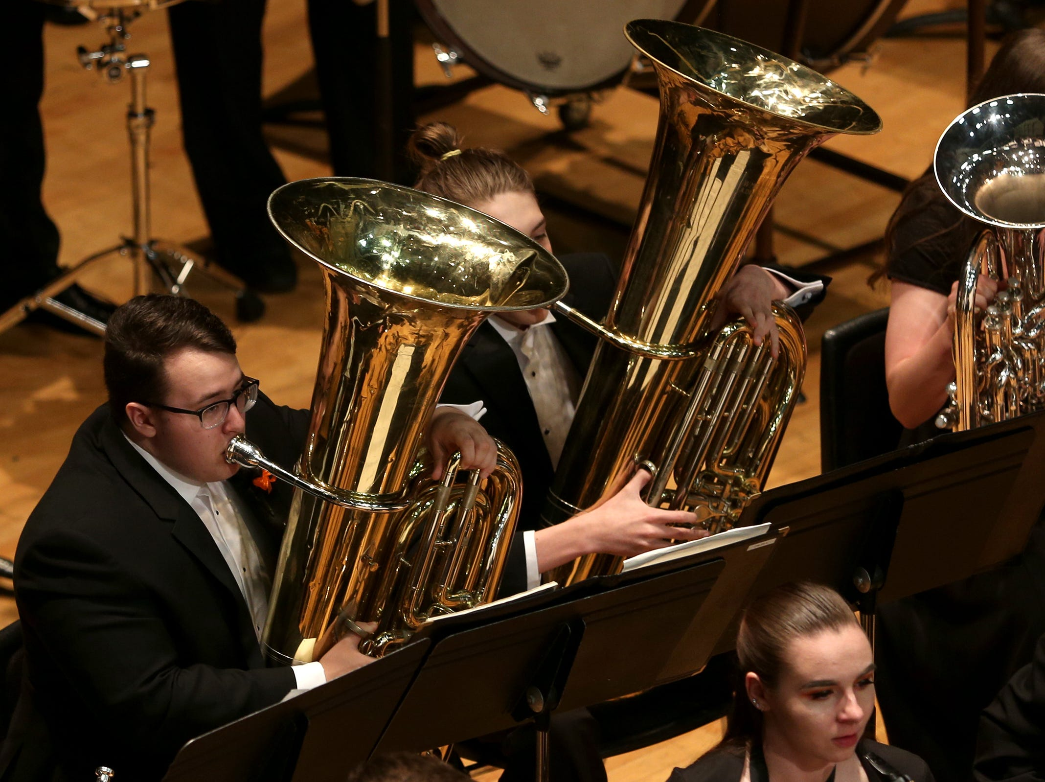 Sprague High School's band, under the direction of Richard Greenwood, performs at the OSAA 6A Band State Championships at Oregon State University in Corvallis on May 11, 2019.