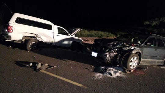 One person died and two were injured in a two-vehicle accident Saturday night south of Independence.