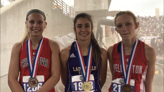 Christoval High School's Allison Vaughn, left, San Saba's Brighton Adams, middle, and Wellington's Kyla Kane were the top three finishers in the Class 2A girls 800 meters Saturday at the UIL State Track and Field Championships. Sophomore Vaughn was second, sophomore Adams was first and freshman Kane was third.