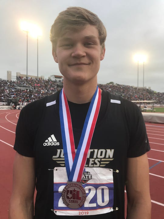 Junction's Kyle Lumpkins with the first of two silver medals he won in hurdles races at the Class 2A boys competition at the UIL State Track and Field Championships, Saturday, May 11, 2019, in Austin.