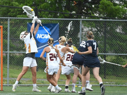 Salisbury University's Skye Graham with the save against Lebanon Valley during the 2nd round of the NCAA Championships on Sunday, May 12, 2019.