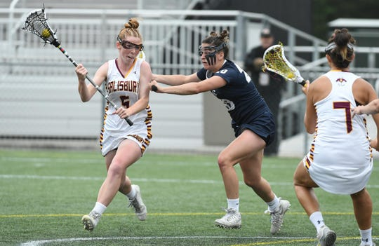 Salisbury University's Lydia McNulty drives towards the goal against Lebanon Valley during the 2nd round of the NCAA Championships on Sunday, May 12, 2019.