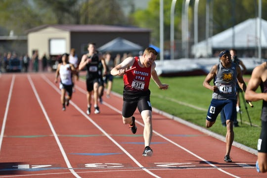 SUU's Max Morley beats Northern Colorado's Antoine Coates to win the Big Sky track and field championship.