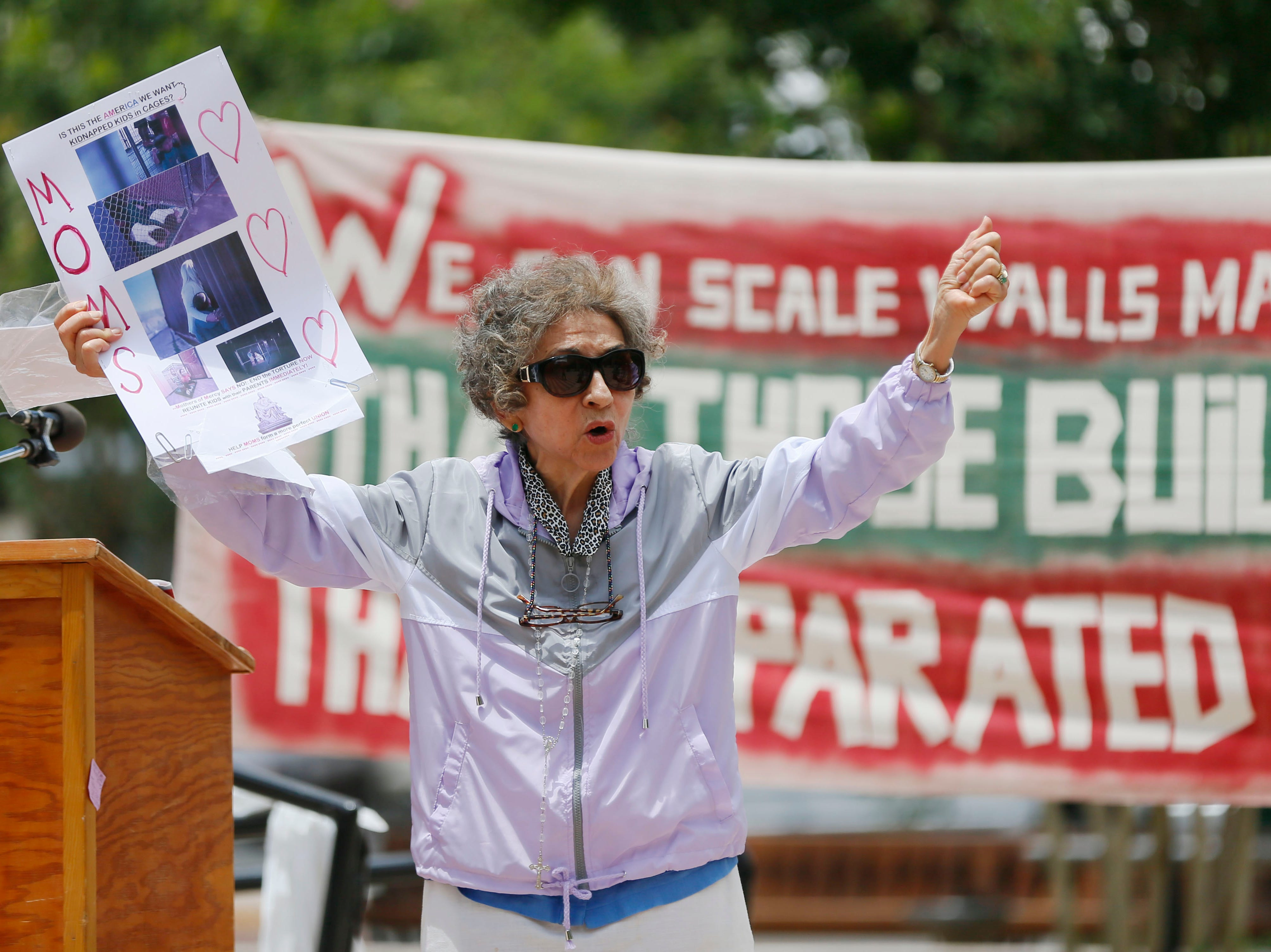 Cordelia Candelaria gives a speech during the Coalition to End Child Detention - El Paso rally Sunday, May 12, to end family separation and child detention.
