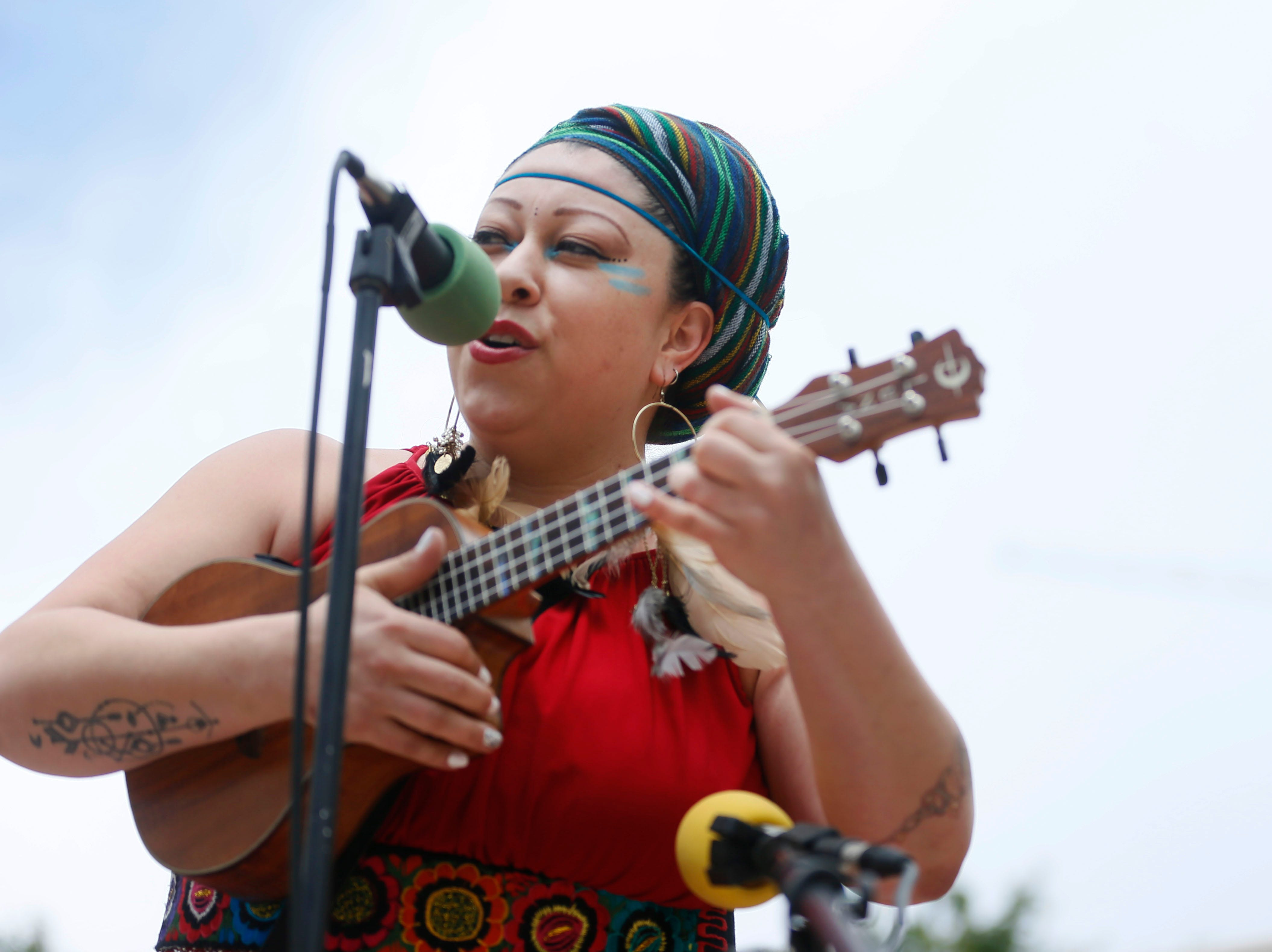 Shaka Took performs during the Coalition to End Child Detention - El Paso rally Sunday, May 12, to end family separation and child detention. Angelica Tinajero and her sister Betsy Tinajero, not pictured, performed several songs during the rally.