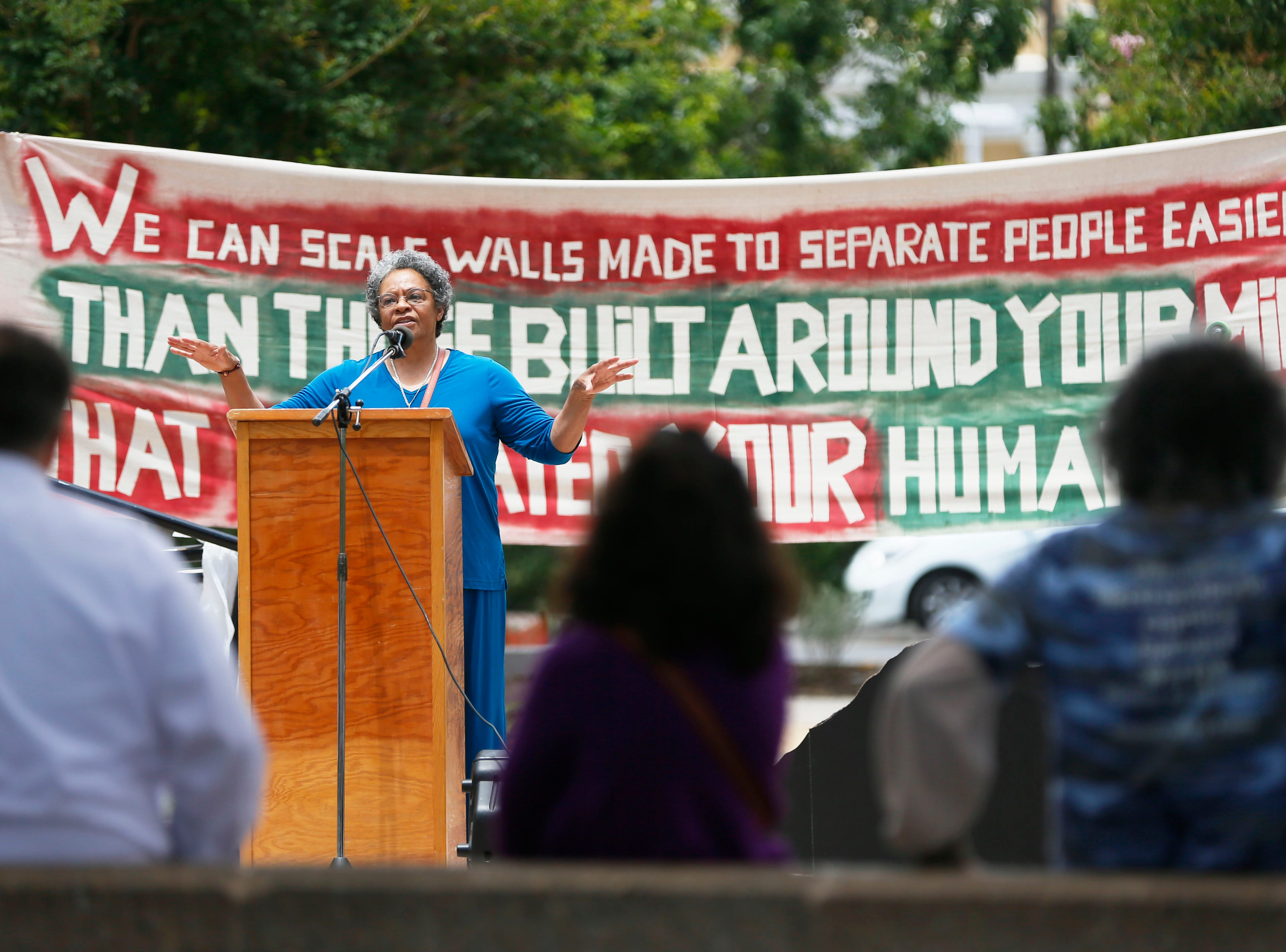 Nancy Lorenza Green gives a speech during the Coalition to End Child Detention - El Paso rally Sunday, May 12, to end family separation and child detention.