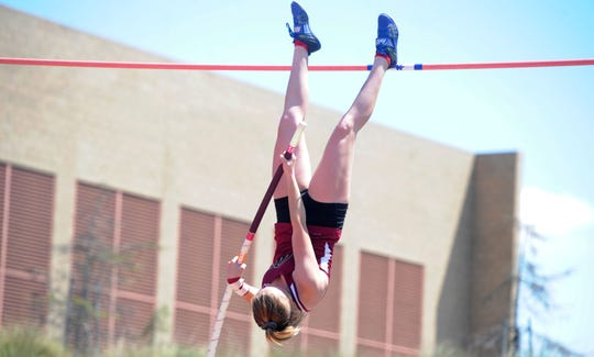Bryn Polly of Oaks Christian competes in the Division 4 pole vault at the CIF-SS Track and Field Championships at El Camino College in Torrance on Saturday. Polly finished second.