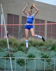 Paige Sommers of Westlake clears the bar during her victory in the Division 2 pole vault competition at the CIF-SS Track and Field Championships at El Camino College in Torrance on Saturday. Sommers also won the high jump title.