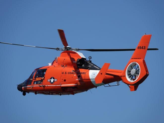 A U.S. Coast Guard helicopter