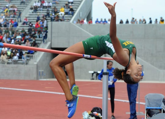 Victoria Plummer of Moorpark High clears the bar in the Division 2 high jump at the CIF-SS Track and Field Championships at El Camino College in Torrance on Saturday. Plummer finished third.