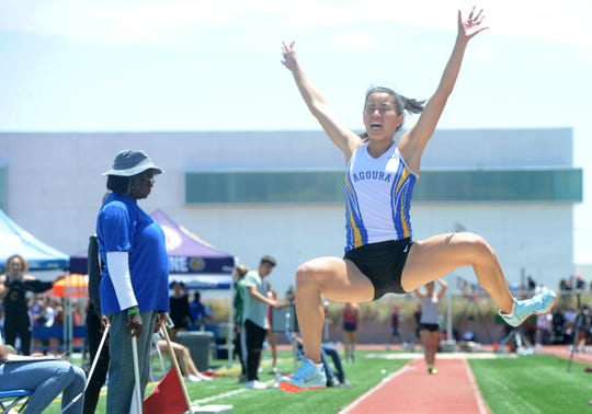 Lauren Thai of Agoura competes in the Division 2 girls long jump at the CIF-SS Track and Field Championships at El Camino College in Torrance on Saturday. Thai finished sixth.