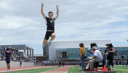Derek Pekar of Ventura hits an apex during the Division 2 long jump competition at the CIF-SS Track and Field Championships at El Camino College in Torrance on Saturday. Pekar finished sixth.